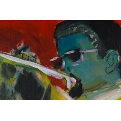 "View 7: Wayne Manns (American, 20th Century) ""The Man with the Horn"" Acrylic and Found Objects on Panel"