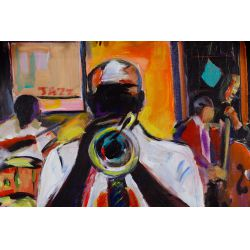 "View 2: Wayne Manns (American, 20th Century) ""Trumpet Player"" Acrylic and Found Objects on Panel"