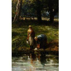 """View 2: Edmund Morrison Wimperis (English, 1835-1900) """"Summer Landscape After Rain"""" Oil on Canvas"""