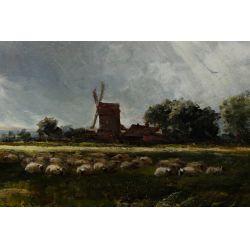 """View 4: Edmund Morrison Wimperis (English, 1835-1900) """"Summer Landscape After Rain"""" Oil on Canvas"""