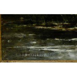 """View 5: Edmund Morrison Wimperis (English, 1835-1900) """"Summer Landscape After Rain"""" Oil on Canvas"""