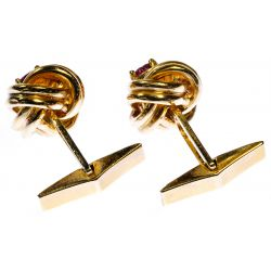 View 2: 14k Gold and Ruby Cufflinks