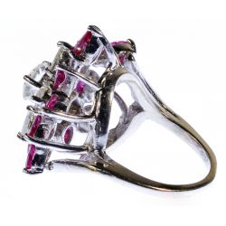 View 2: 14k White Gold, Ruby and Diamond Ring
