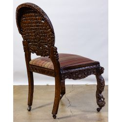 View 2: Richard Himmel Carved Burmese Upholstered Side Chair