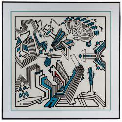 "View 4: Richard Spinner (American, 20th Century) ""Michigan Avenue"" Silkscreen on Paper"