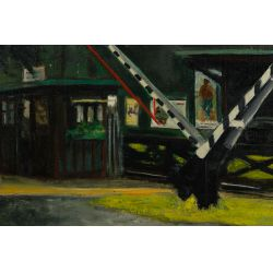 """View 2: Unknown Artist (American, 20th Century) """"Train Station"""" Oil on Canvas"""