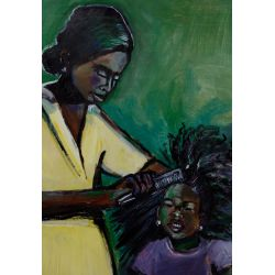 """View 2: Wayne Manns (American, 20th Century) """"Mother and Daughter"""" Acrylic and Found Objects on Panel"""