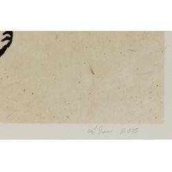 "View 3: Alison Saar (American, b.1956) ""Mirror Mirror II: Mulatta Seeking Inner Negress II"" Woodcut on Chine Colle"