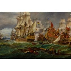 View 2: European School (19th Century) Naval Engagement Oil on Canvas