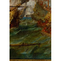 View 3: European School (19th Century) Naval Engagement Oil on Canvas