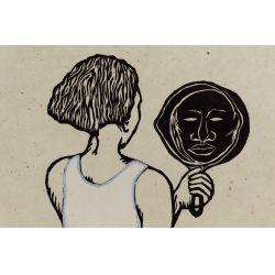 "View 2: Alison Saar (American, b.1956) ""Mirror Mirror II: Mulatta Seeking Inner Negress II"" Woodcut on Chine Colle"