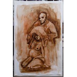 "View 10: Kara Walker (American, b.1969) Untitled (""Lincoln"") Gouache on Paper"