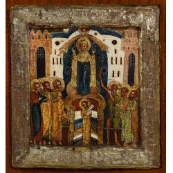 """View 2: Russian Wood Icon """"Protection of the Mother of God"""""""