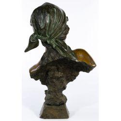 """View 3: (After) Emmanuel Villanis (French, 1858-1914) """"Fille de Boheme"""" Bronze Bust"""