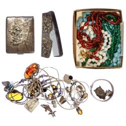 View 3: Sterling Silver, Peking Glass and Costume Jewelry Assortment