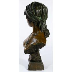 """View 2: (After) Emmanuel Villanis (French, 1858-1914) """"Fille de Boheme"""" Bronze Bust"""