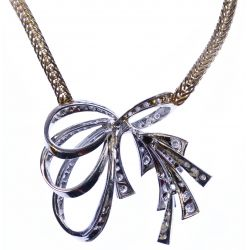View 3: 14k White and Yellow Gold and Diamond Necklace