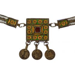 View 3: Moroccan Berber Silver and Enamel Necklace