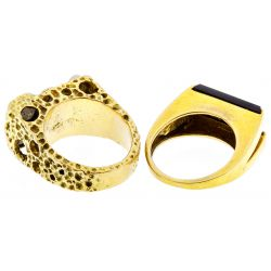 View 2: 18k Gold, Onyx and Diamond Rings