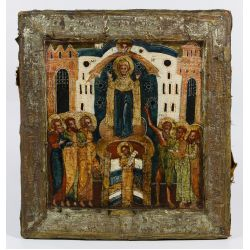 """View 5: Russian Wood Icon """"Protection of the Mother of God"""""""