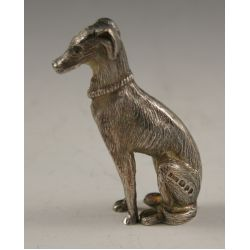 View 2: Sterling Silver Dog (Greyhound) Figurine