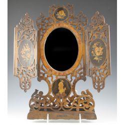 View 2: Vintage Inlaid Wood Mirror & Wood Book Ends
