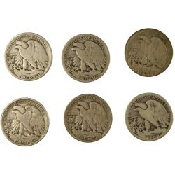 View 2: S-Mint Walking Liberty Halves - 1919-S, 1923-S, 1927-S, 1928-S, 1929-S & 1933-S