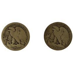 View 2: 1916-D and 1921-S Walking Liberty Half Dollars