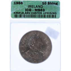 View 2: Ireland: 1966 10 Schilling MS-63 (ICG)