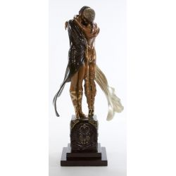 "View 2: ERTE, (Russian, 1892-1990) ""Lovers & Idol"" Bronze Statue"