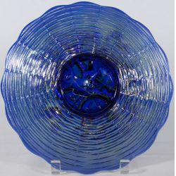 "View 2: Northwood Electric Blue ""Rose Show"" Carnival Glass Plate"
