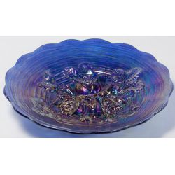 "View 3: Northwood Electric Blue ""Rose Show"" Carnival Glass Plate"