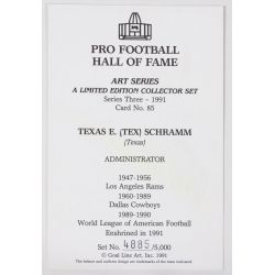 View 2: Tex Schramm Signed Goal Line Art Card with JSA Authentication