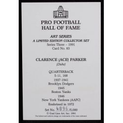"""View 2: Clarence """"Ace"""" Parker Signed Goal Line Art Card with JSA Authentication"""