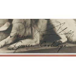 View 2: Calvin Coolidge and Wife Grace w/Family Dog Signed Photo with JSA Authentication