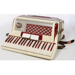 View 2: Scandalli Italy Accordion No 350 / 62 with Leather Carrying Case