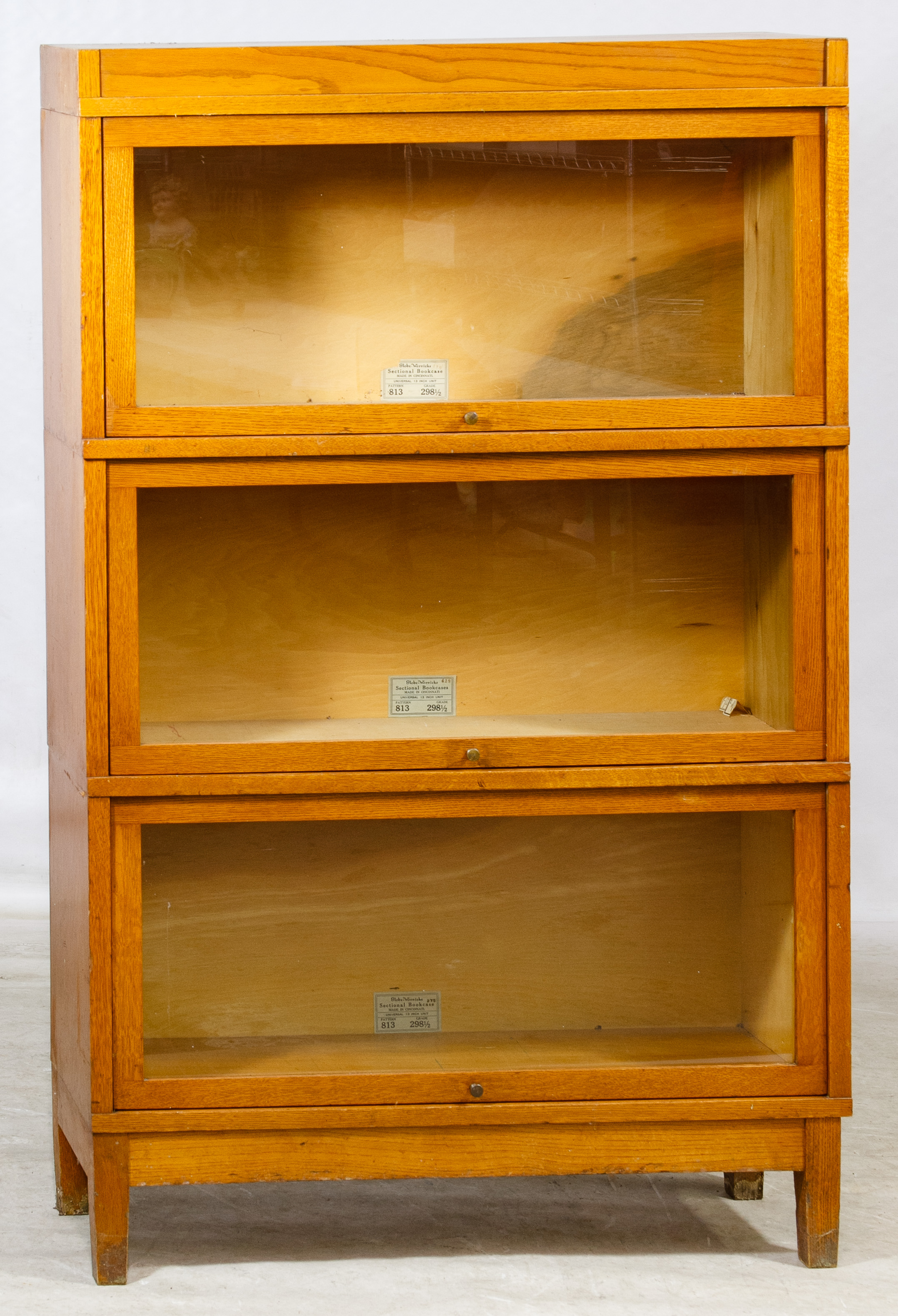 Oak Veneer Barrister Bookcase By Globe Wernicke