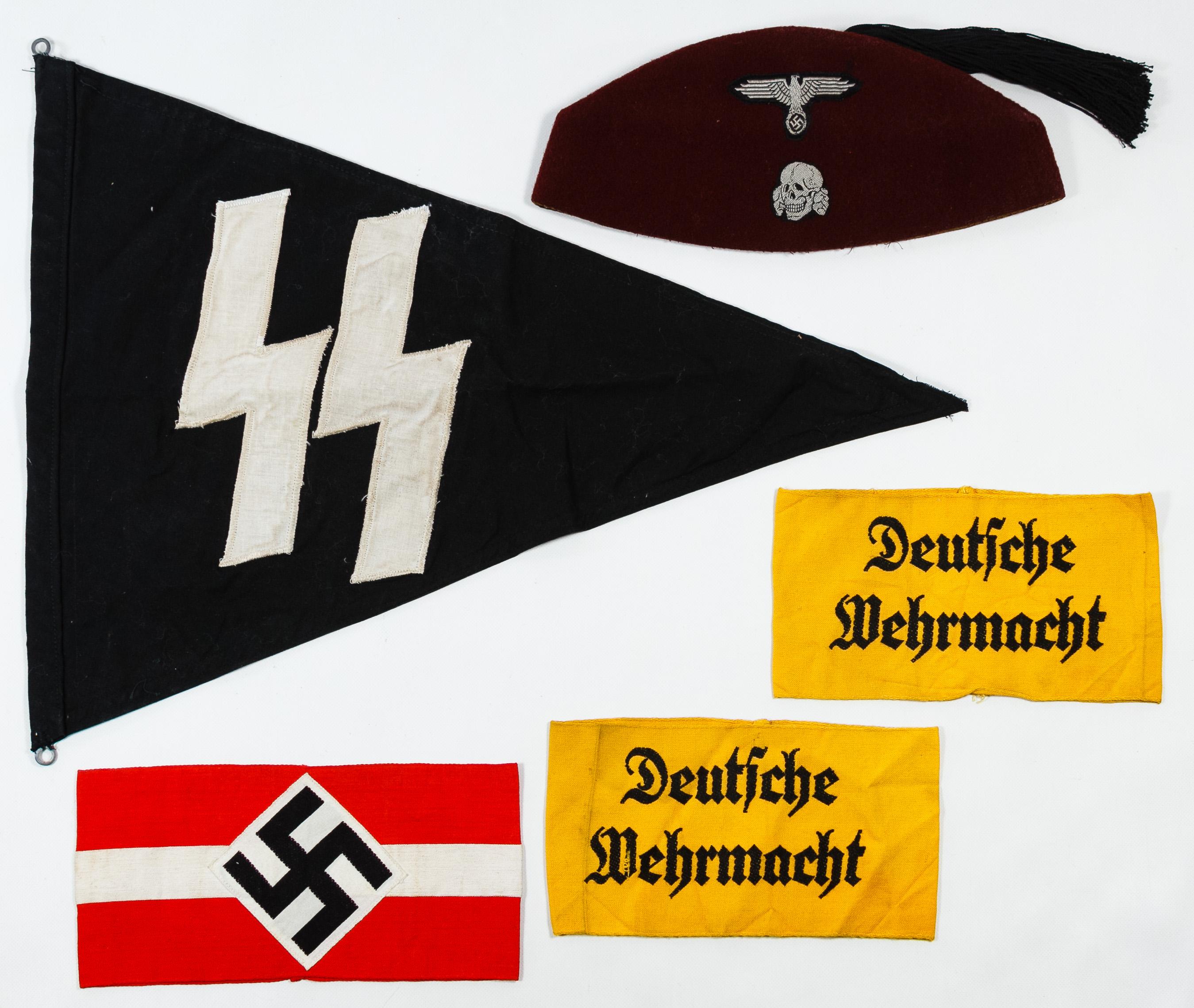 World War II German Hat, Flag and Armbands