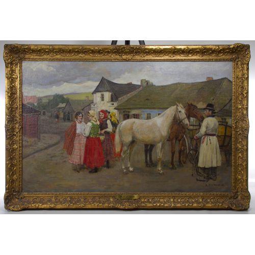 "Antoni Piotrowski (Polish, 1853-1924) ""Sunday Visitors"" Oil on Canvas"