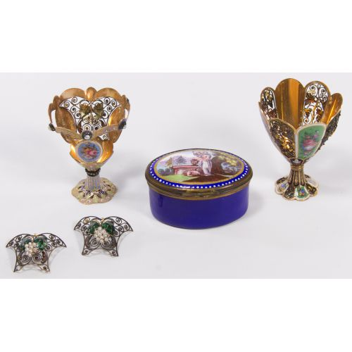 Battersea Snuff Box and Egg Cup Assortment