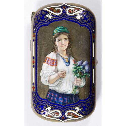 Russian Sterling Silver (.916) and Enamel Cigarette Case