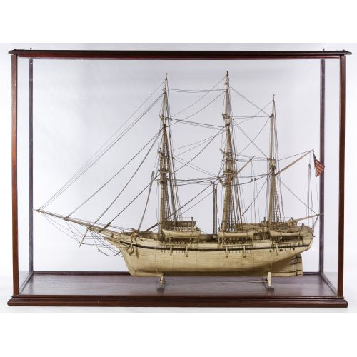 Whale Bone Ship Model with Display Case