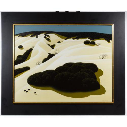 """Eyvind Earle (American, 1916-2000) """"Rolling Hills"""" Oil on Board"""